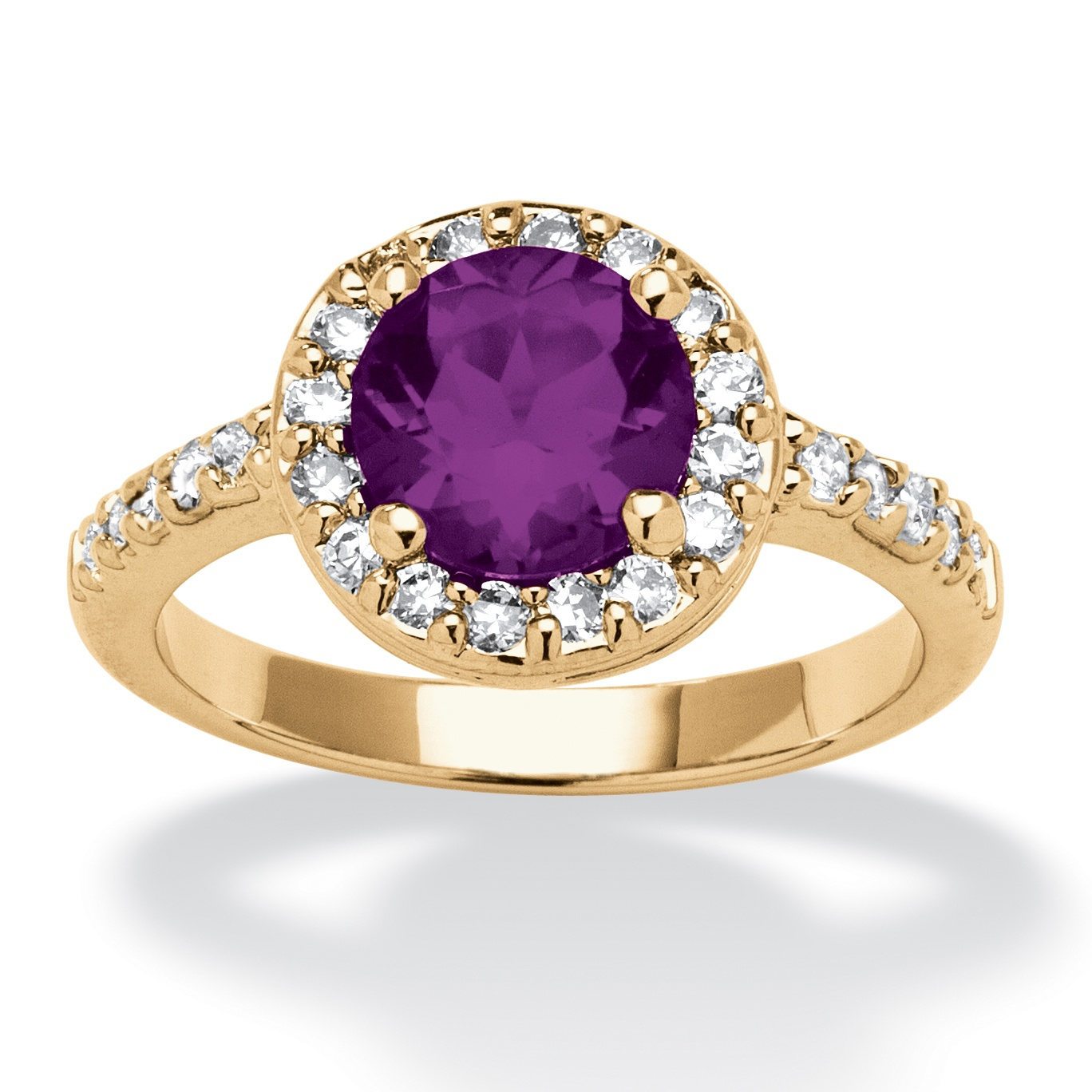 Round Birthstone and Cubic Zirconia Ring In Yellow Gold Tone - February- Simulated Amethyst
