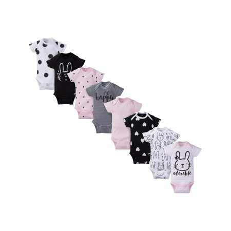 Gerber Assorted Short Sleeve Onesies Bodysuits, 8pk (Baby Girls) Baby Deer Long Sleeve Onesie