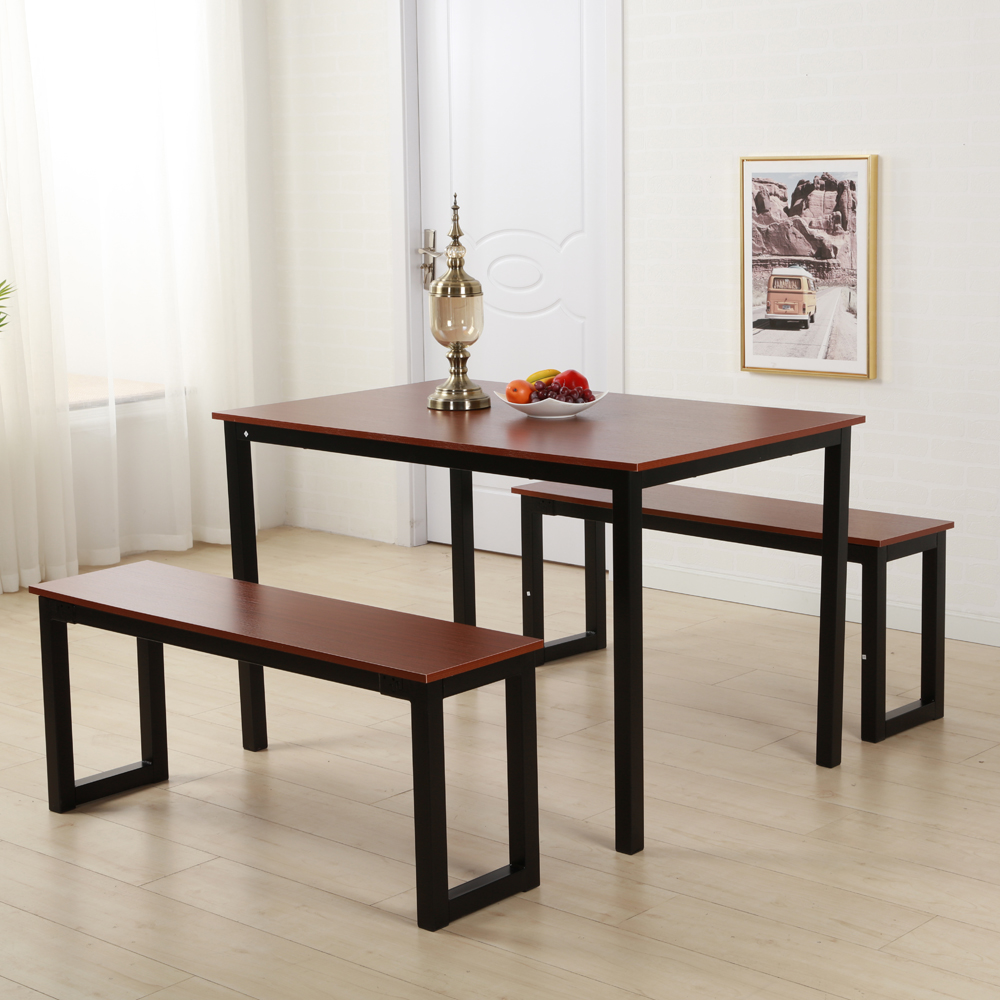 Ktaxon Modern Dining Set Table With Two Benches/3 Piece Set For Dining Room