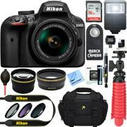 Nikon D3400 24.2 MP DSLR Camera + AF-P DX 18-55mm VR NIKKOR Lens Kit (Black) 32GB SDXC Memory + SLR Photo Bag + Wide Angle Lens + 2x Telephoto Lens + Flash Accessory Bundle (Certified Refurbished)