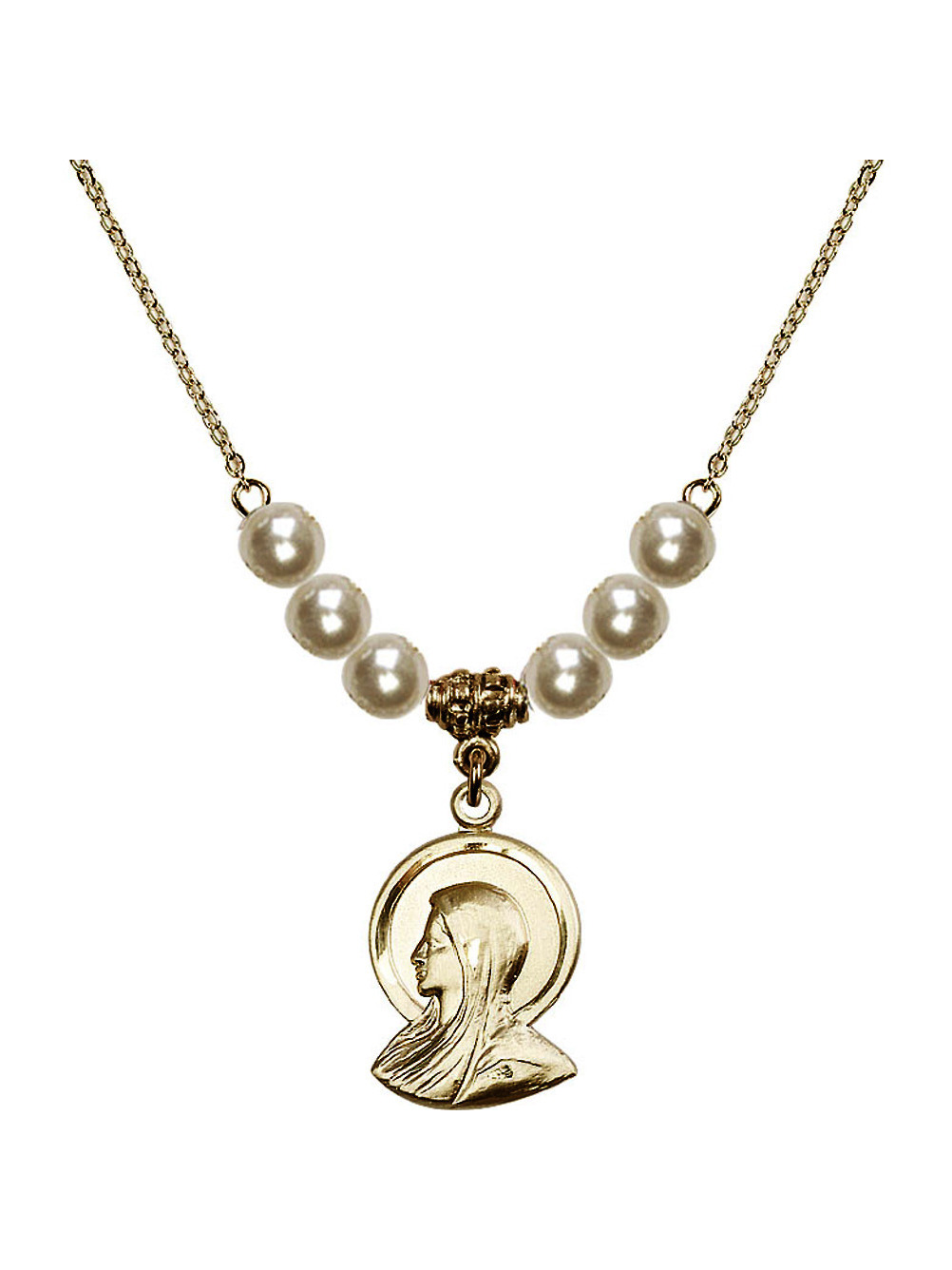 18-Inch Hamilton Gold Plated Necklace with 4mm Crystal Birthstone Beads and Gold Filled Holy Spirit Charm.