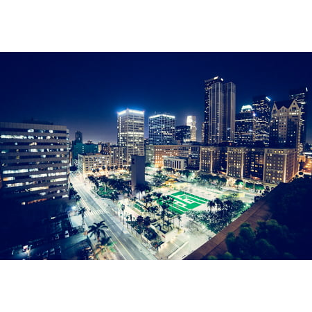 Laminated Poster Night Downtown City Lights Buildings Evening Poster Print 11 x 17