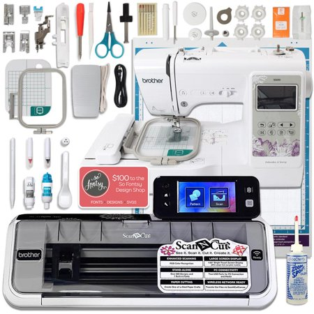 Brother ScanNCut 2 Bundle with SE600 Computerized Sewing and Embroidery (Redwork Machine Embroidery Designs)