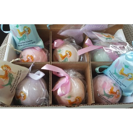 6 MERMAID SPLASH Bubble Bath Fizzy Gift Set Glitter Surprise 6 XL USA Made, Perfect Bubble Bath, Handmade Birthday Gift idea for Girls, Spa Parties, women, girlfriend, Home (Best Surprise For Girlfriend Birthday)