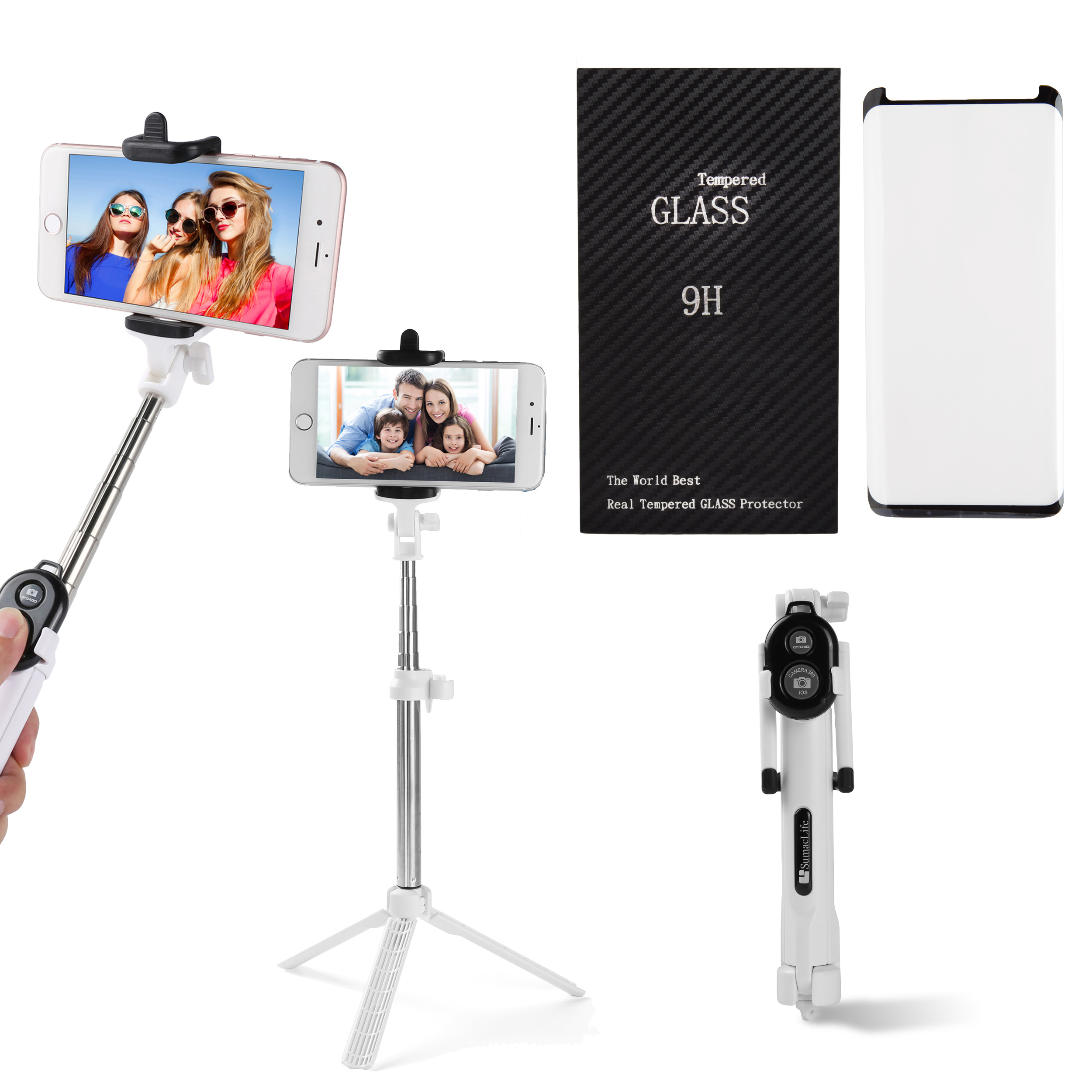 Portable Wireless Remote Control Selfie Stick and Mini Tripod with Tempered Glass Screen Protector for Samsung Galaxy S9 Plus