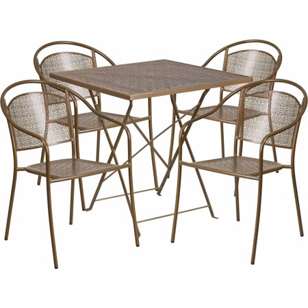 Flash Furniture 28 Square Indoor Outdoor Steel Folding Patio Table Set