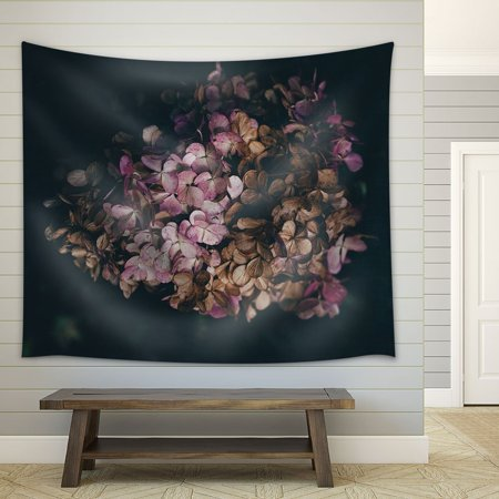 wall26 - Pink Hydrangea on Black Background - Fabric Wall Tapestry Home Decor - 51x60 - Fabric Hydrangea