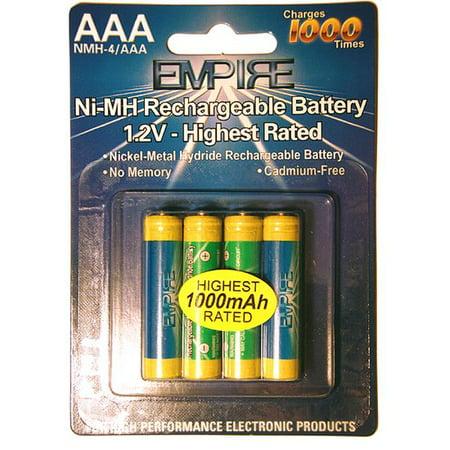 Empire NMH-4- AAA 1.2V 4 AAA Nickel Metal Hydride Rechargeable Per Card - 1.2 watt