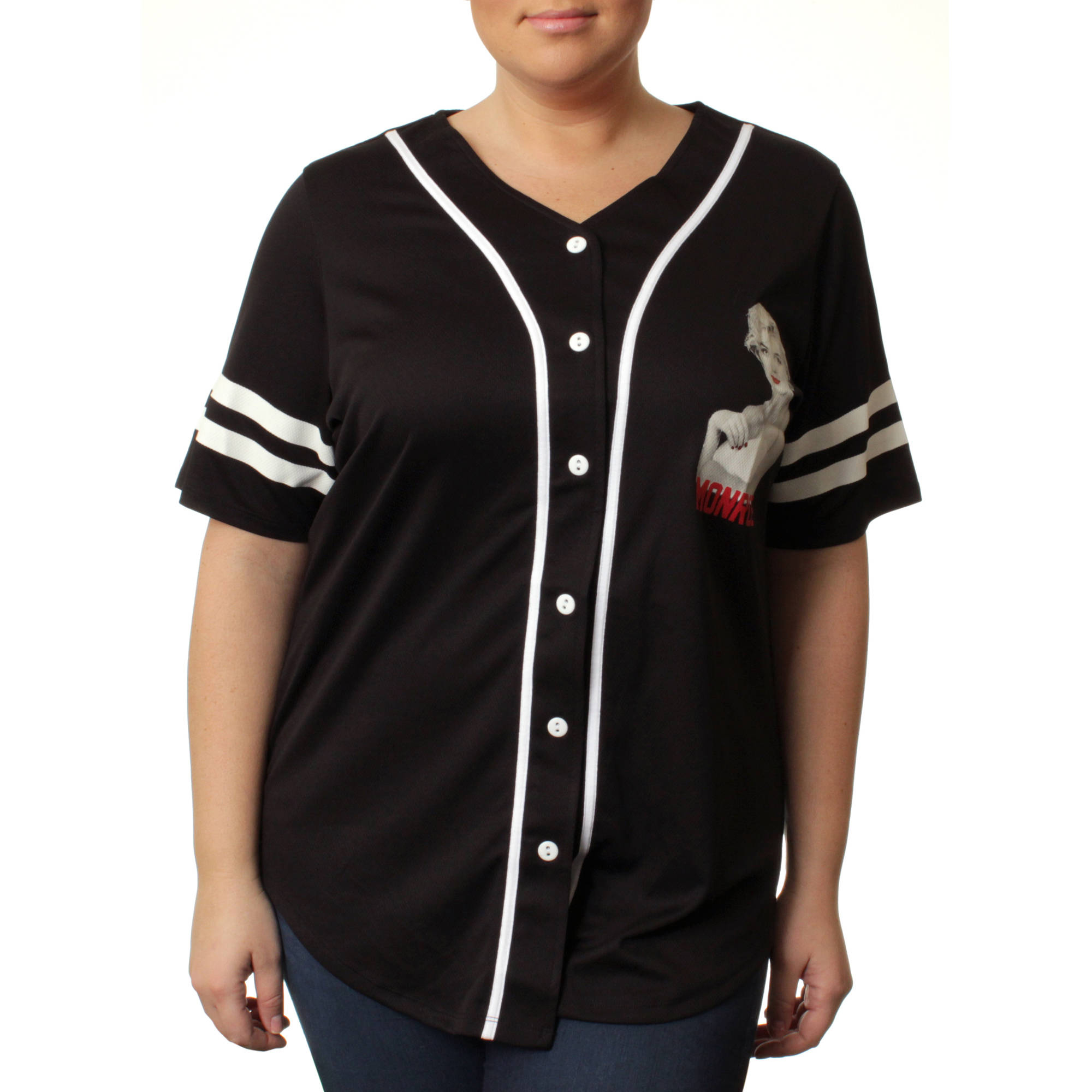Women's Plus Button Front Athletic Mesh Baseball Shirt