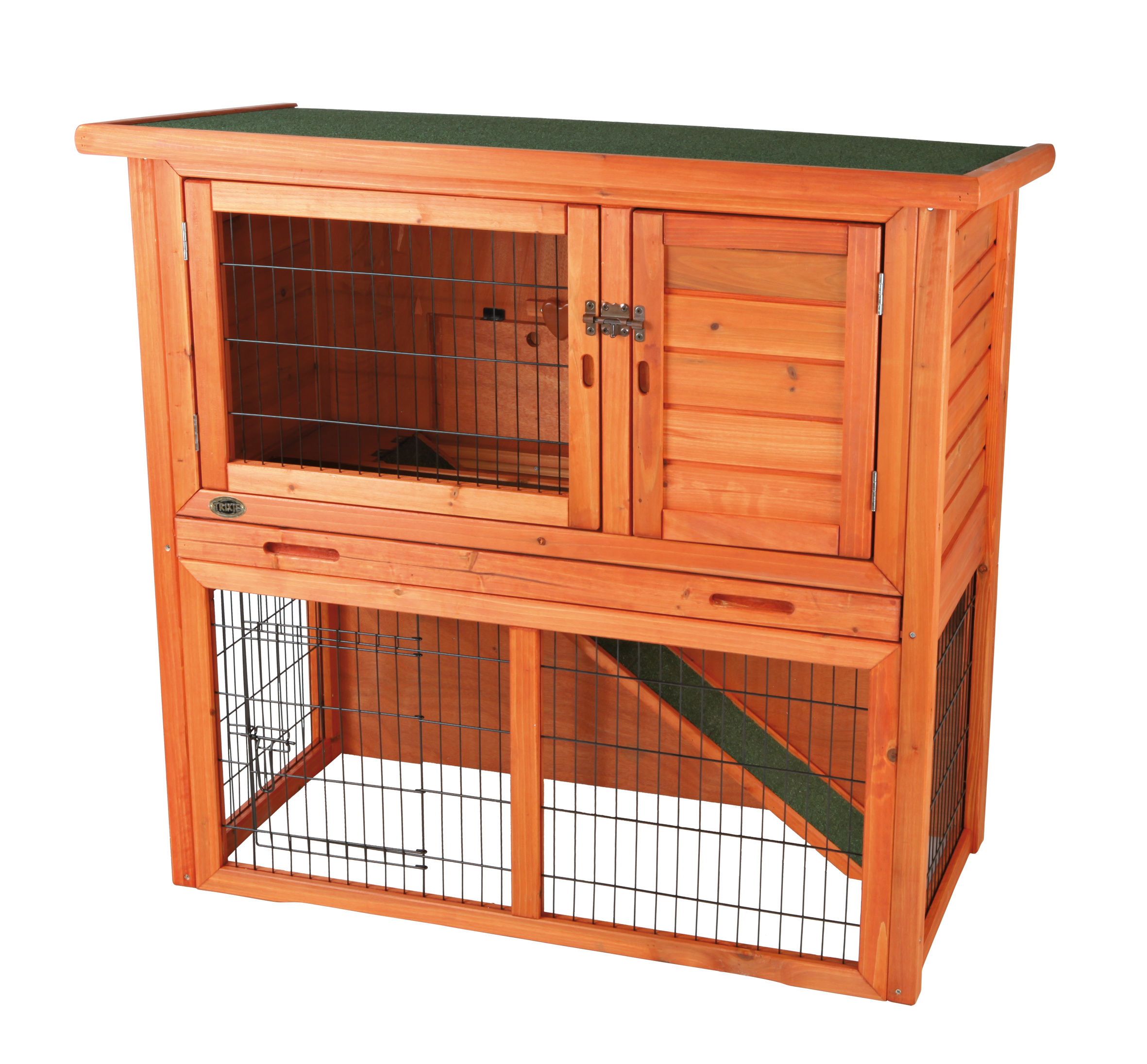 Trixie Pet Rabbit Hutch with Sloped Roof (L) (Brown)