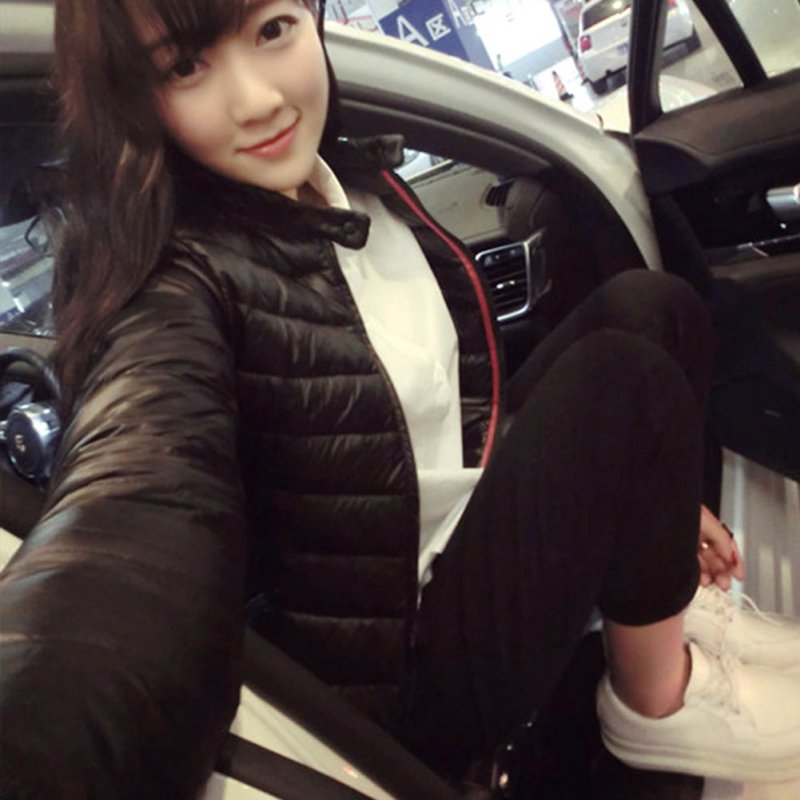 Winter Women Black Hooded Down Coat Padded Cotton Short Jacket Outwear Slim Parka by