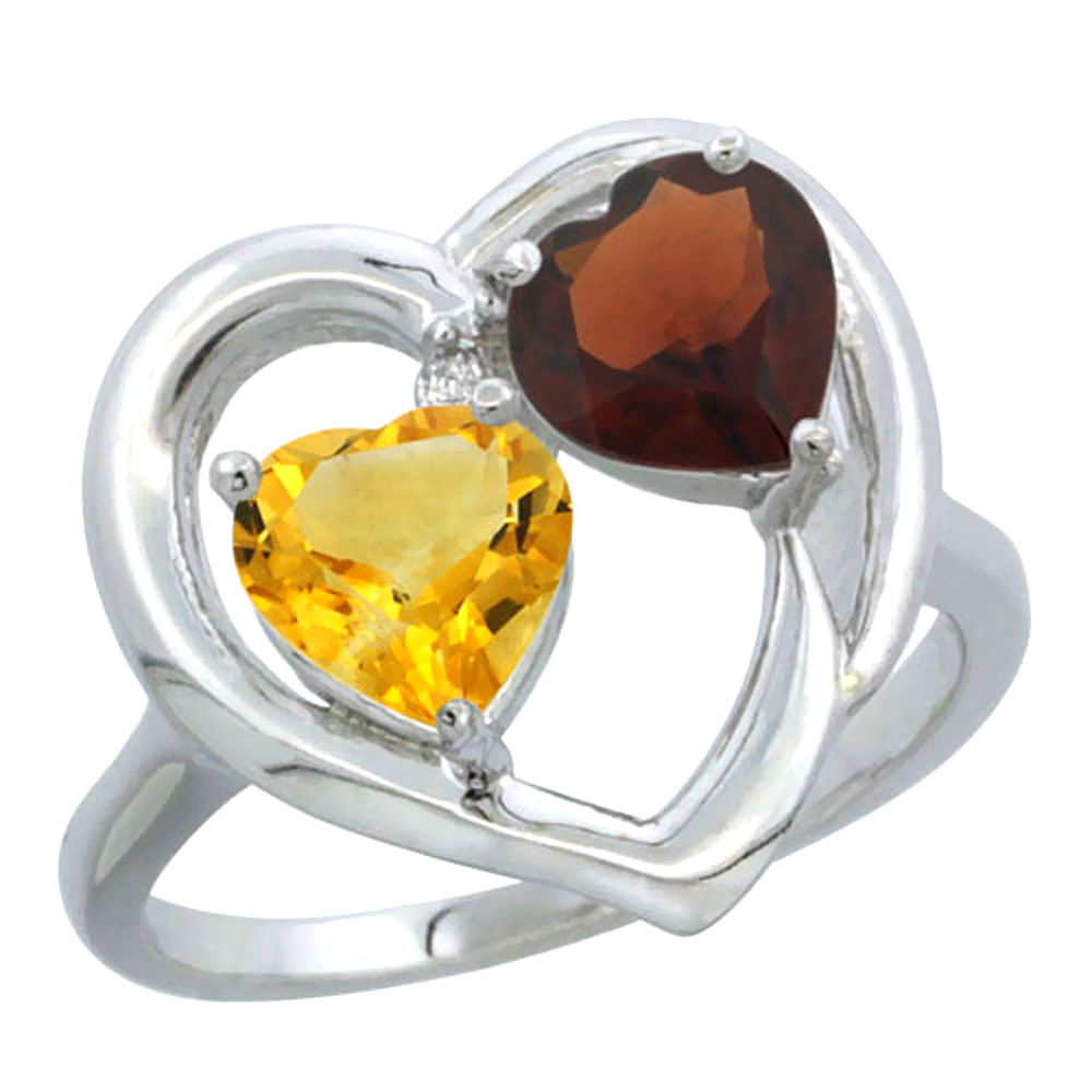 10K White Gold Diamond Two-stone Heart Ring 6mm Natural Citrine & Garnet, sizes 5-10 by WorldJewels
