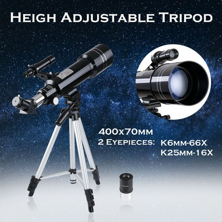 400x70mm Astronomical Refractor Telescope Refractive Spotting Scope Eyepieces Tripod Kids Beginners (Telescopes For Kids)