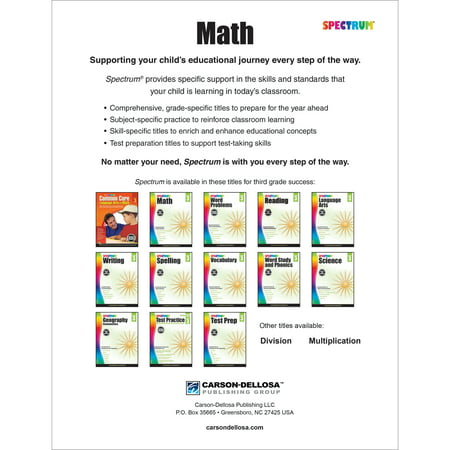 Spectrum Spectrum Math Workbook Grade 3 160 Pages Walmartcom