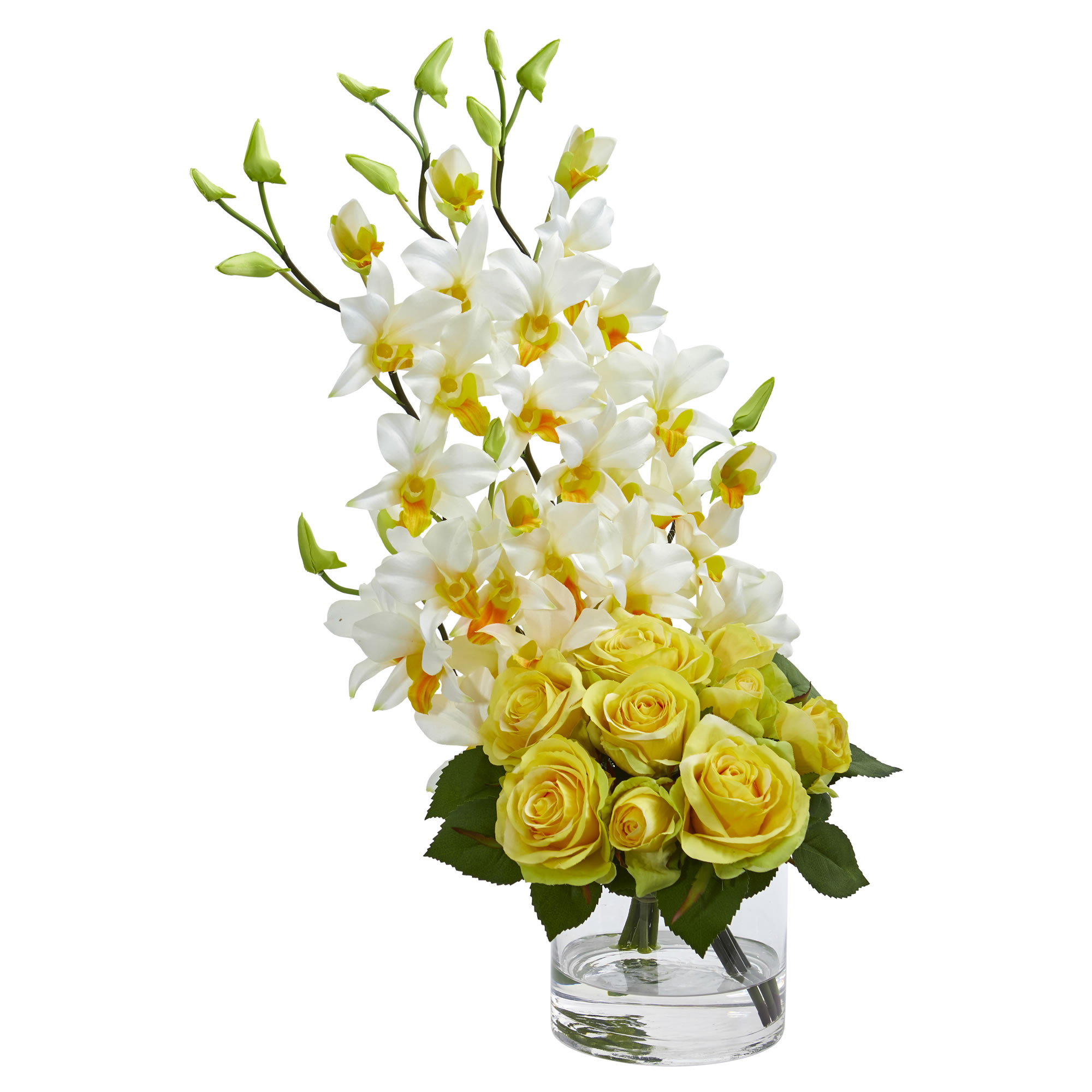 Nearly Natural Rose & Dendrobium Orchid Artificial Arrangement