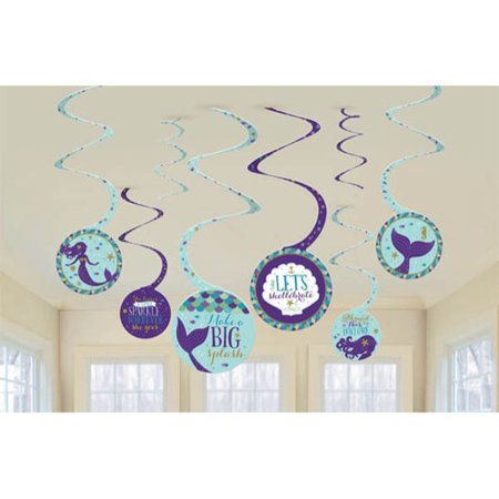 Mermaid 'Mermaid Wishes' Hanging Swirl Decorations (8pc)