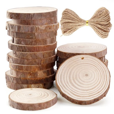 Muxika 20 Pieces 6-7cm Unfinished Predrilled Wood Slices Round Log Discs With 33 Feet](Wood Tree Slices)