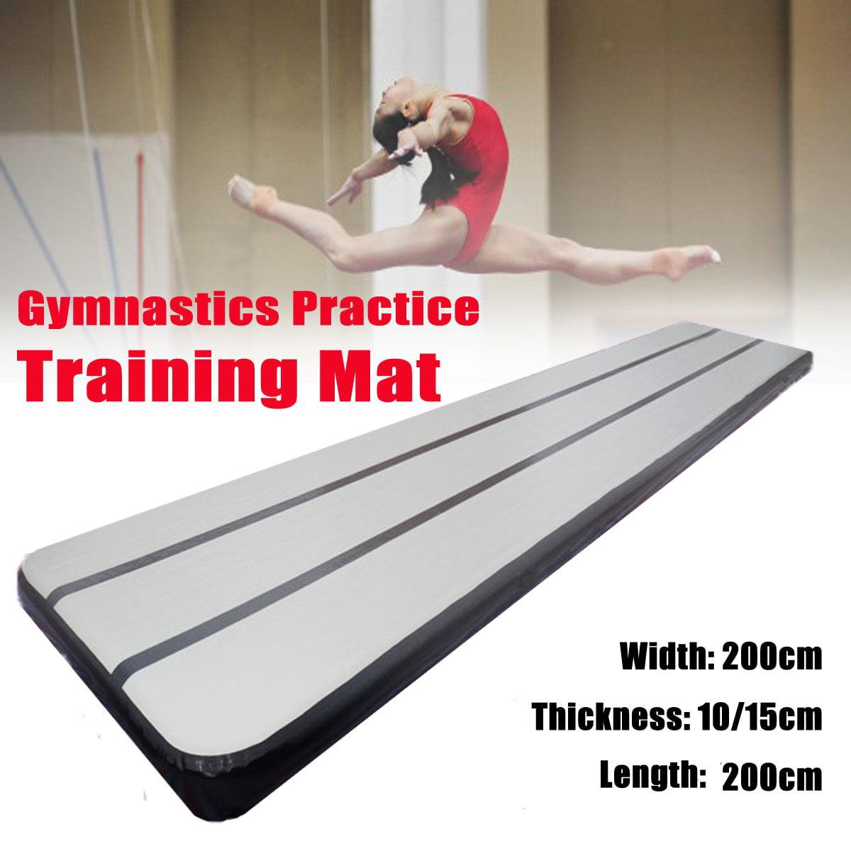 "79""x79"" Inflatable Air Balance Beam Gymnastics Air Track Floor Mats Tumbling Mat Practice Exercise inflatablecushion Training Yoga Pad, Taekwondo, Cheerleading,Black & Gray"