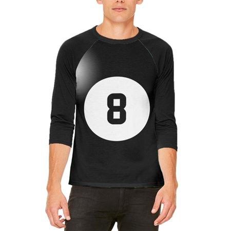 Halloween Billiard Pool Ball Eight Costume All Over Mens Raglan T Shirt (100 Floors Level 8 Halloween Special)