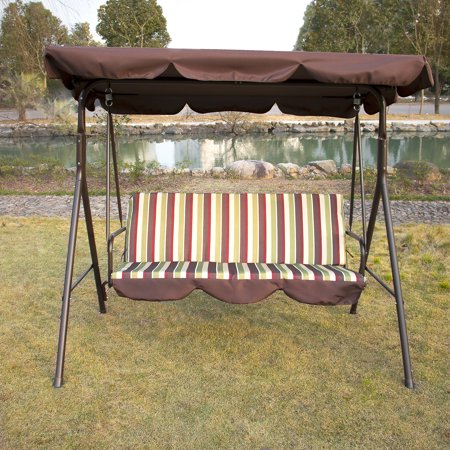 Outdoor Patio 2 Person Seat Swing Hammock Chair with Canopy Awning Backyard Furniture ()