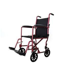 "Lightweight AluminumTransport chairWheelchair, Fixed Full Arms, 19"" Seat Burgundy"