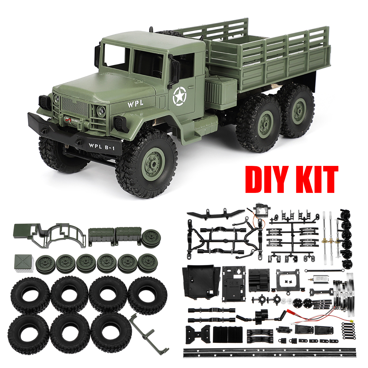WPL B-16 1:16 2.4G 6WD Off-Road RC Military Truck Rock Crawler DIY Kit Toy Gift 16.14x5.31x6.30 Inch (Color: Green Yellow)