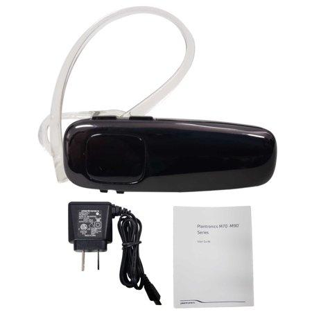 Plantronics M90 Bluetooth Wireless Universal Headset HD Audio - Shiny Black (Renewed)