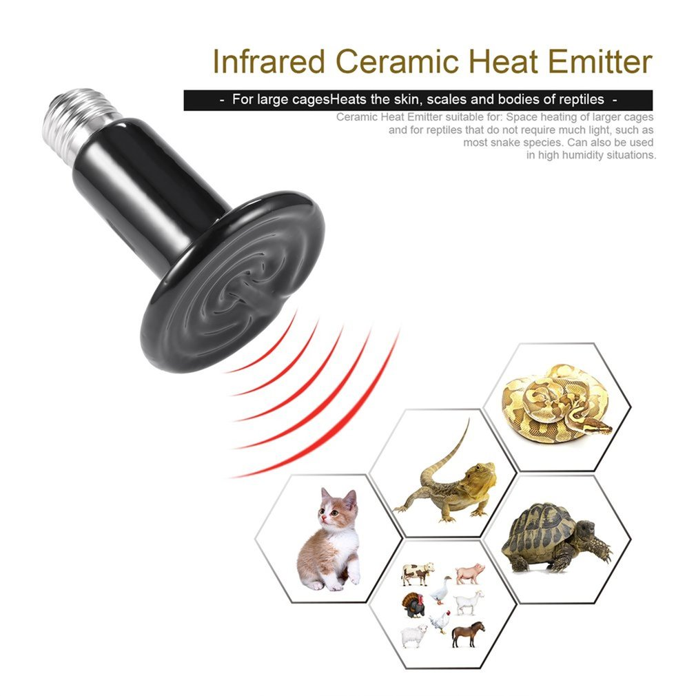 Infrared Ceramic Heat Emitter Lamp Bulb For Pet Reptile Chicken Incubator