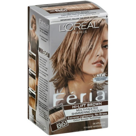 L'Oreal Feria Permanent Hair Colour, Cool, B61 Hi-Lift Brown 1 ea (Pack of (Cool Colours)