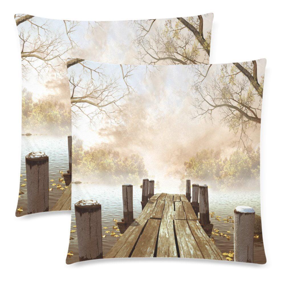 YKCG Ocean Decor Wooden Bridge with Tree Leaves Branch Throw Pillowcase Pillow Case 18x18... by YKCG