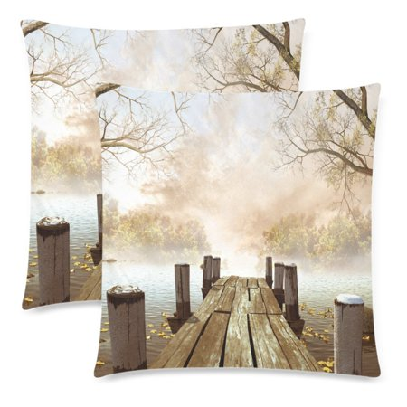 YKCG Ocean Decor Wooden Bridge with Tree Leaves Branch Throw Pillowcase Pillow Case 18x18 Twin Sides for Couch Bed, Fall Season Nature Zippered Cushion Pillow Cover Shams Decorative, Set of 2 ()