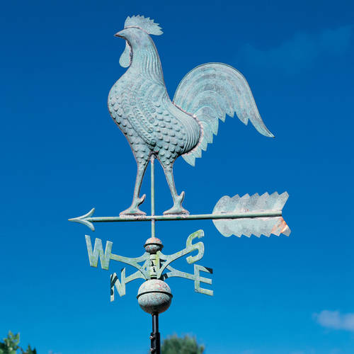 Copper Rooster Weathervane, Verdigris by