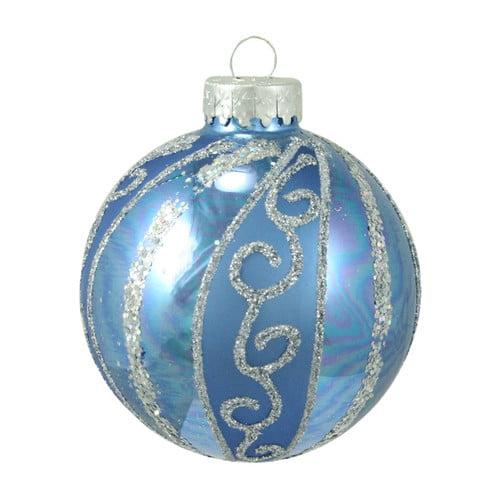 Northlight Seasonal Glittered Swirl Stripe Glass Ball Christmas Ornament (Set of 4)