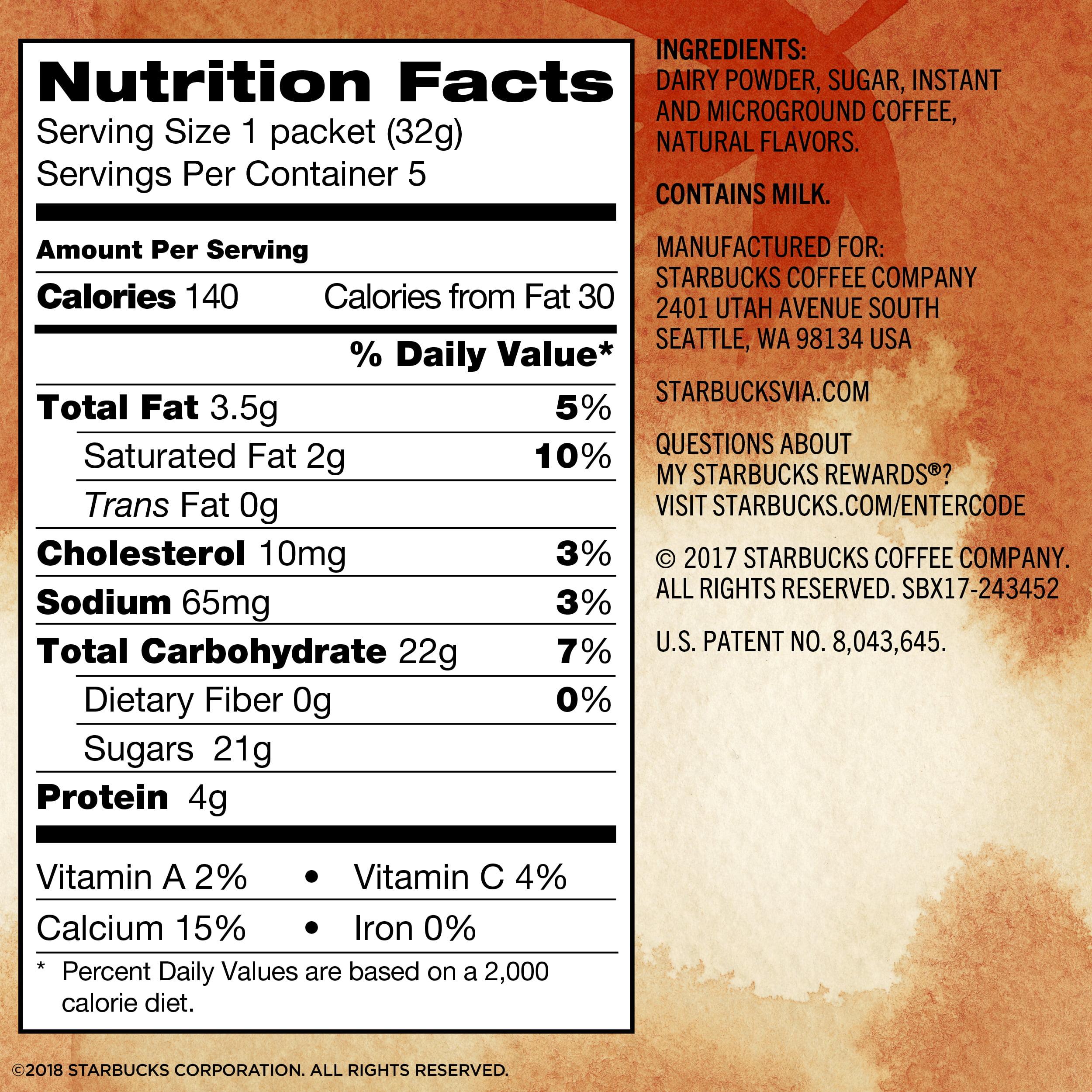 starbucks nutrition facts