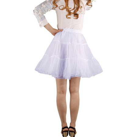 Hoopless Short Skirt Fancy Tutu Petticoat Skirt Dress - Size S-M(White)