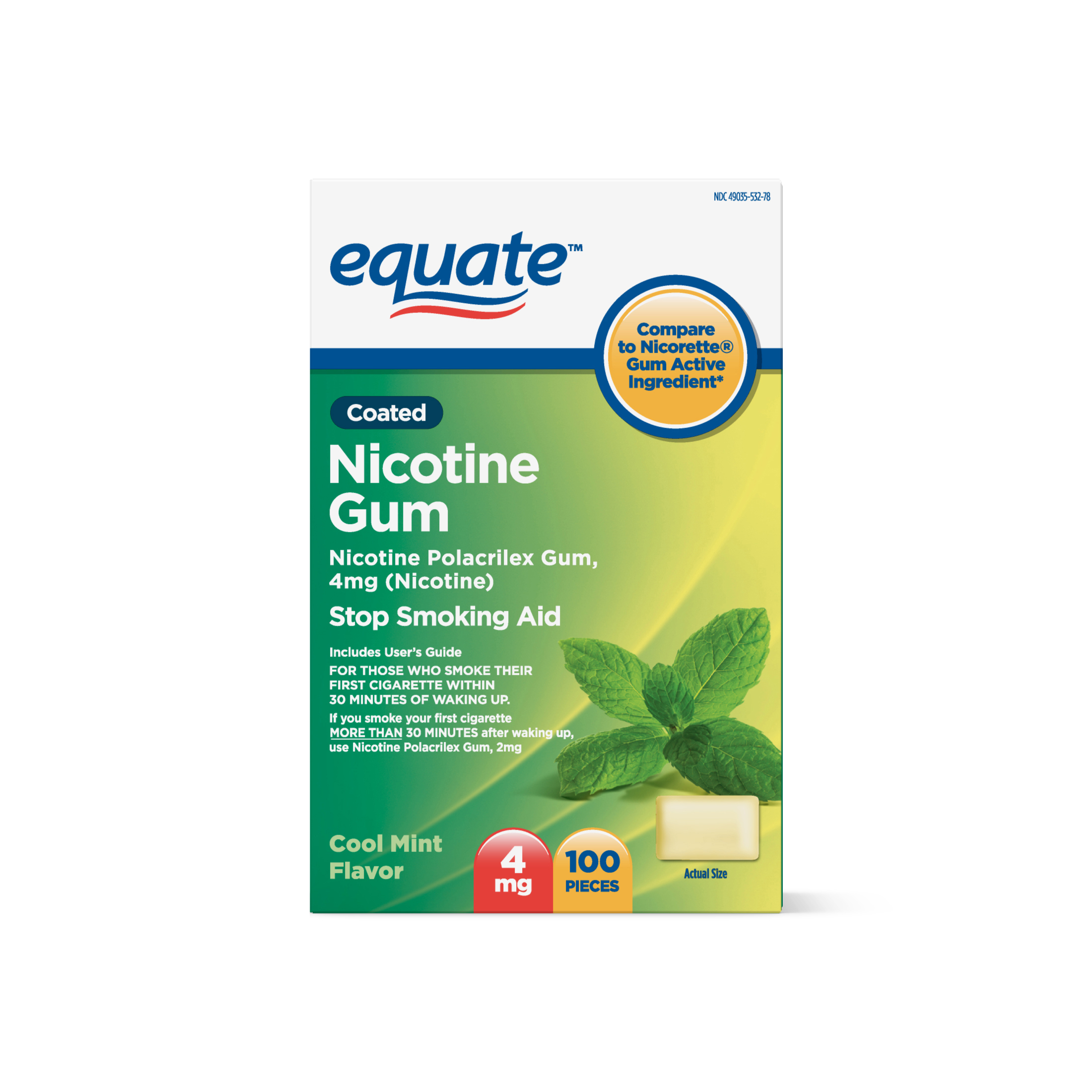Equate Coated Nicotine Cool Mint Gum, 4 mg, 100 Ct