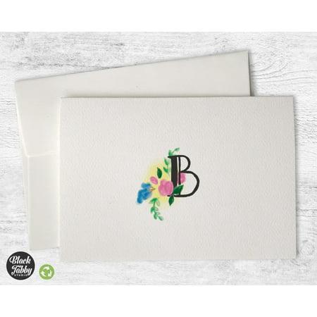 - Floral Monogram (Letter B) - Stationery Cards