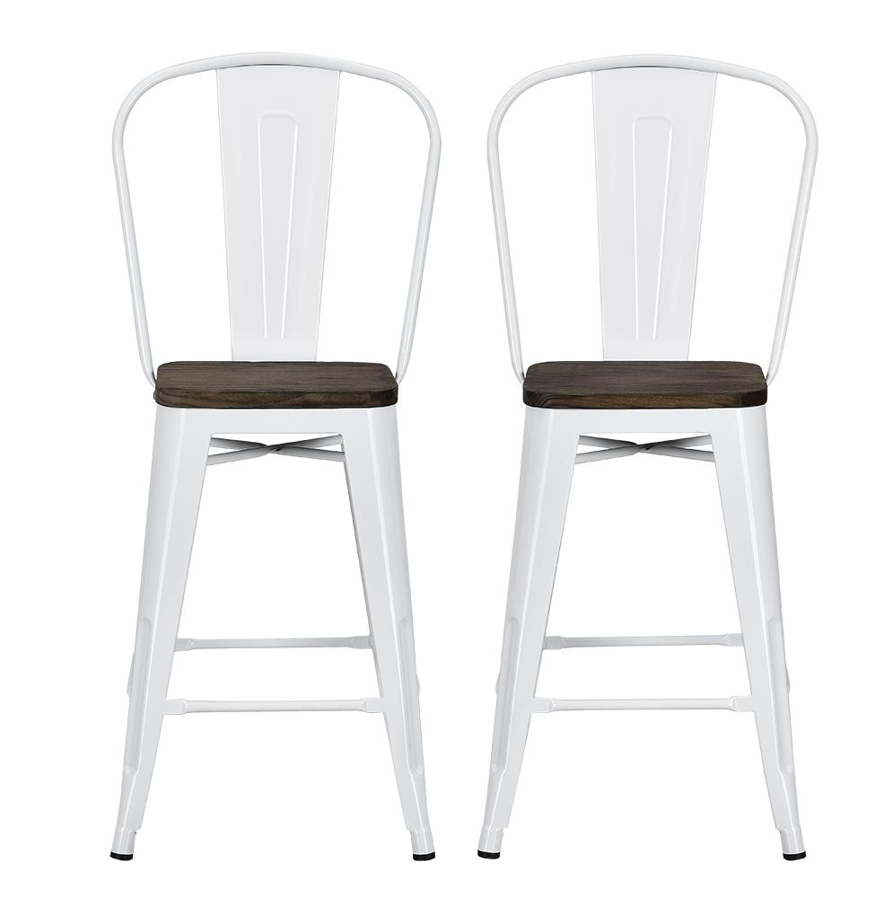 Admirable Dhp Luxor 24 Metal Counter Stool With Wood Seat Set Of 2 Multiple Colors Gmtry Best Dining Table And Chair Ideas Images Gmtryco