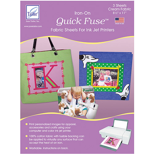 Quick Fuse Iron-On Ink Jet Fabric Sheets, 3pk