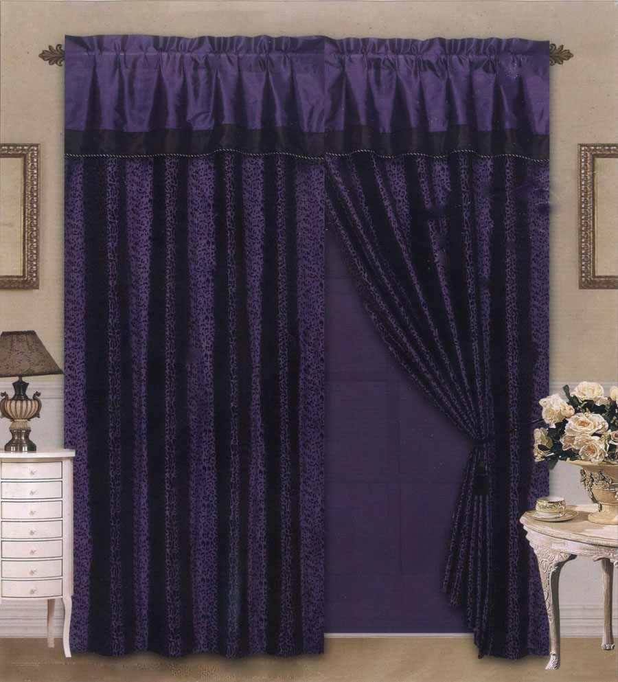 4 Pieces Satin Purple Black Flocking Leopard Pattern Window Curtain Drape Set