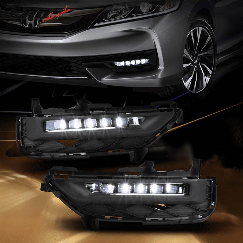 Fits 16-17 Honda Accord 2Dr Coupe Full LED Bumper Fog Lights w/Switch & Wiring