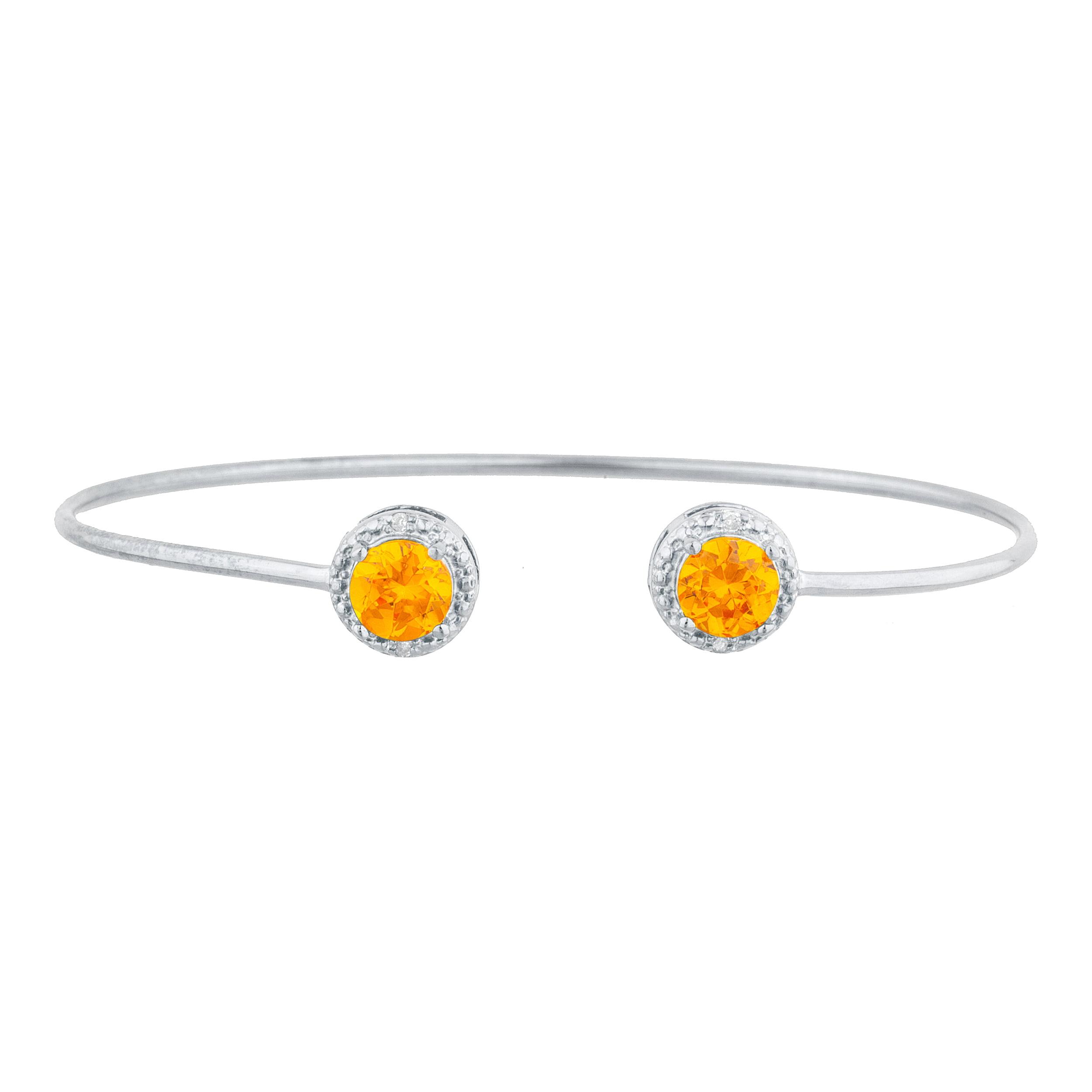 2 Ct Orange Citrine & Diamond Round Bangle Bracelet .925 Sterling Silver by Elizabeth Jewelry Inc