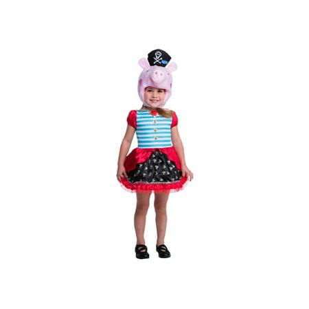 Girls Toddler Peppa Pig Pirate Costume - Peppa The Pig Costume