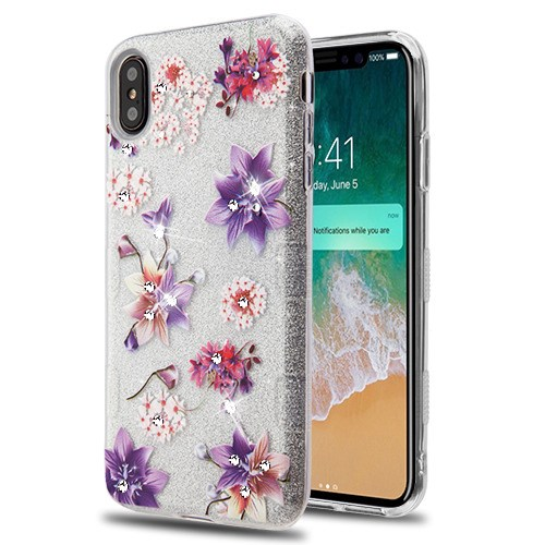 AMZER iPhone Xs Max Case, Shockproof Slim Ultra Hybrid Glitter Hard Back Protective Case for iPhone Xs Max 6.5 Inch 2018 Release - Purple Stargazers