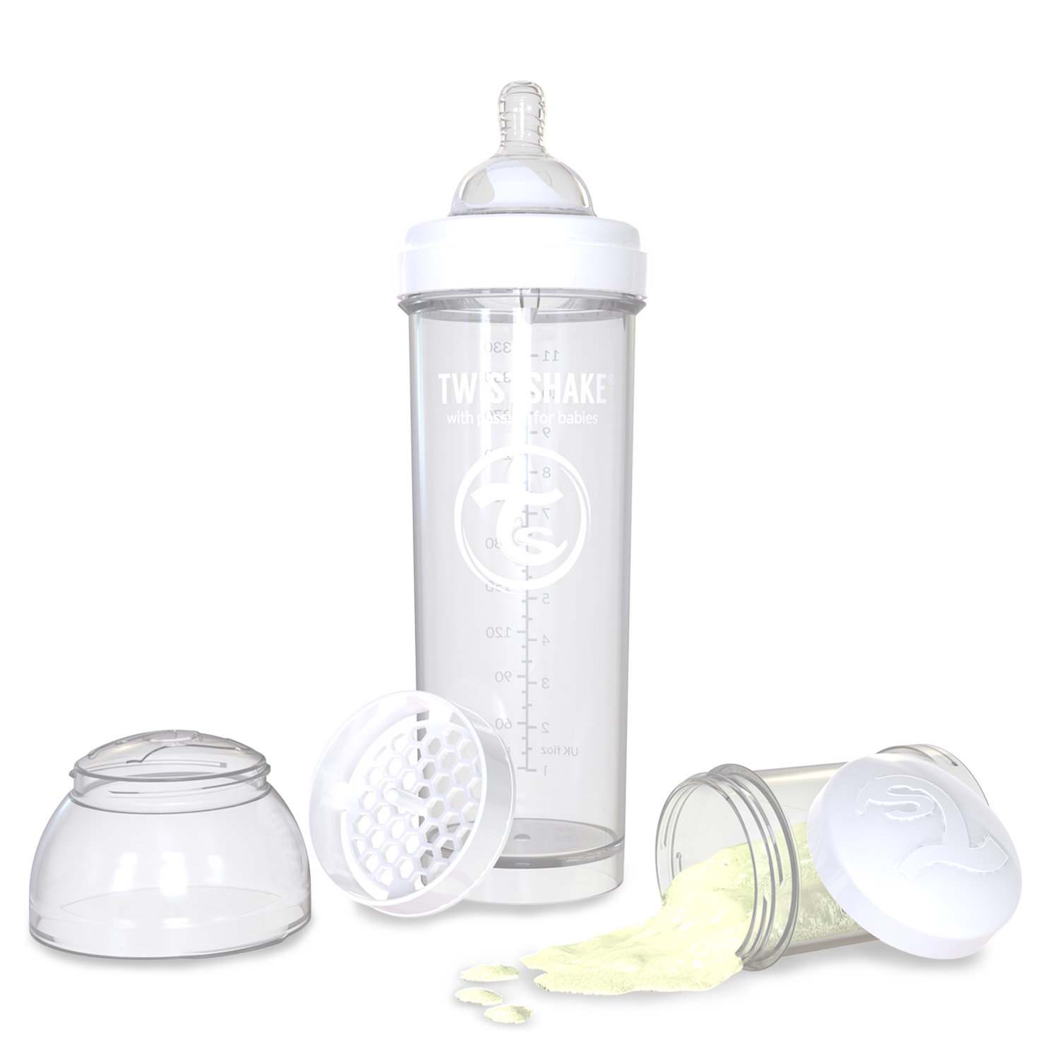 Twistshake Anti-Colic Baby Bottle & Accessories 330ml 11oz White Diamond by Twistshake