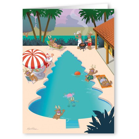 Christmas Tree Pool with Santa and his Reindeer - Funny Holiday Cards - 18 cards and  envelopes