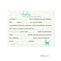 Fill-In-The-Blank Diamond Blue Baby & Co. Baby Shower Game, 20-Pack