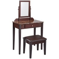 Crown Mark Iris Vanity Table & Stool Marble