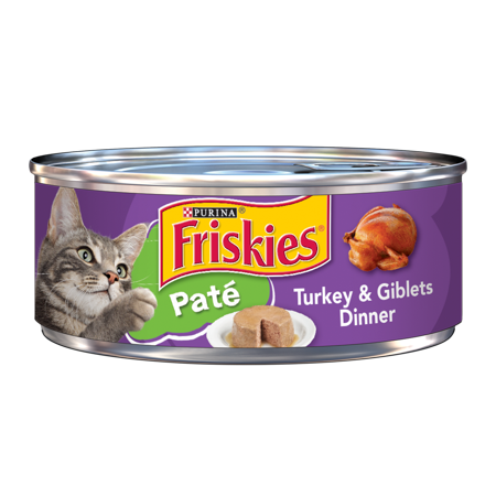 Purina Friskies Pate Turkey & Giblets Dinner Wet Cat Food, 5.5 Oz, 24 Count