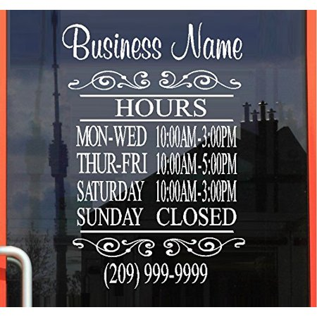 Decal ~ Business STORE HOURS: #5 DECAL, 13